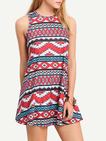 Multicolor Vintage Print Round Neck Shift Dress
