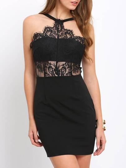 Black Lace Splicing Spaghetti Strap Bodycon Dress