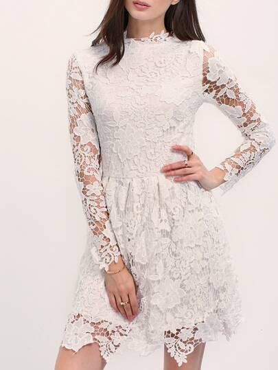 White Crew Neck Lace Crochet Dress