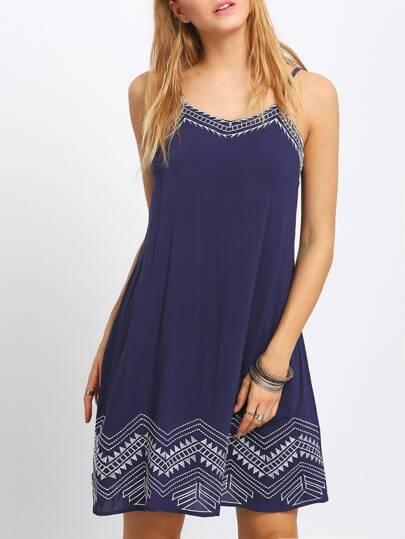 Royal Blue Embroidery Spaghetti Strap Dress