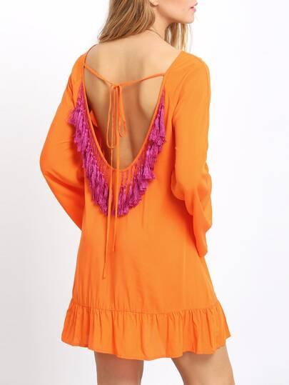 Orange Bell Sleeve Tassel Back Ruffle Dress