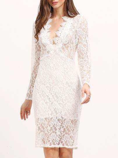 White Deep Plunge Neck Lace Bodycon Dress