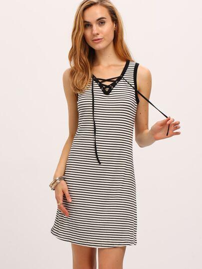 Black White Stripe Lace-up Shift Dress