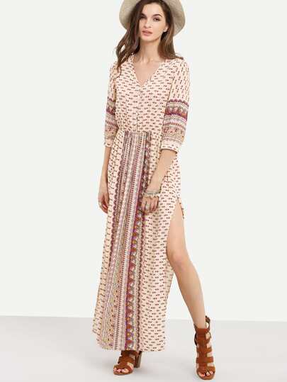 Apricot Half Sleeve Vintage Print Split Maxi Dress