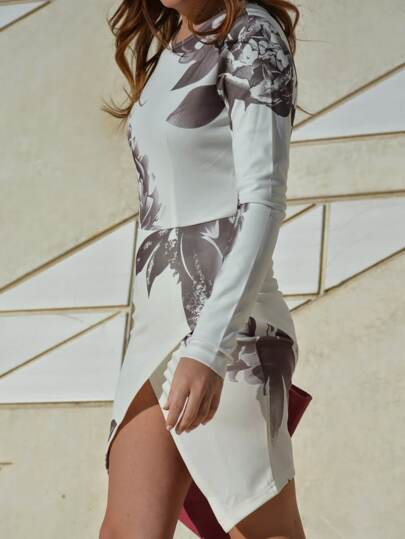 White Long Sleeve Random Patterns Hibiscus Floral Print Wrap Dress