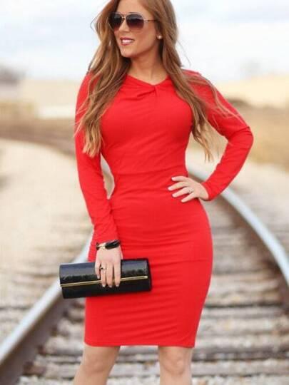 Red Long Sleeve Slim Dress