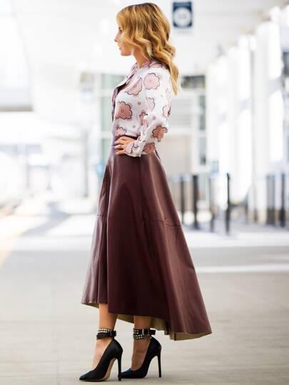 Burgundy PU Leather High Low Skirt