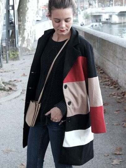 Black Long Sleeve Color Block Coat