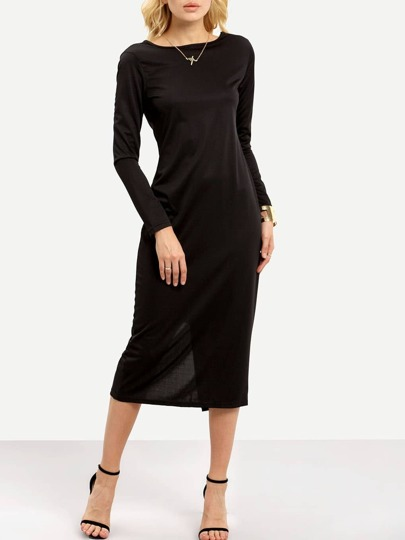 Black Long Sleeve Backless Zipper Slim Dress