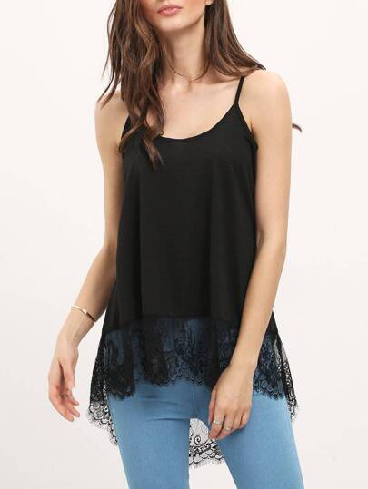 Black Lace Hem Spaghetti Strap Camis Top