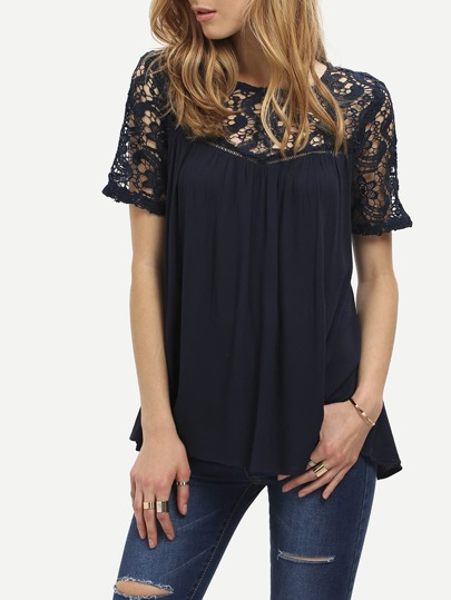 Lace Panel Criss Cross Back Blouse