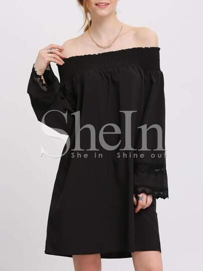 Black Off The Shoulder Lace Cuff Dress