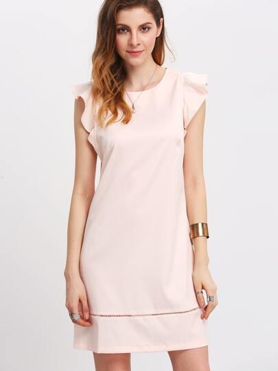 Pink Petal Sleeve Elegant Dress