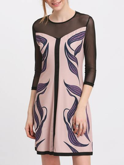 Apricot Mesh Sheer Sleeve Leaf Print Dress
