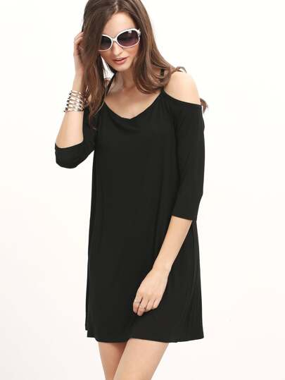 Cold Cheesecloth Shoulder Shift Dress