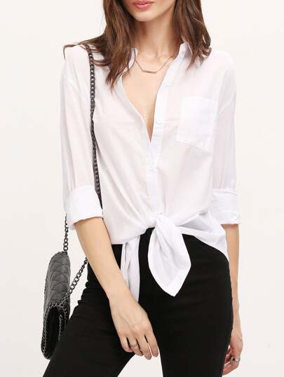 White Lapel With Pockets Blouse