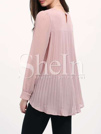 Nude Long Sleeve Pleated Back Blouse