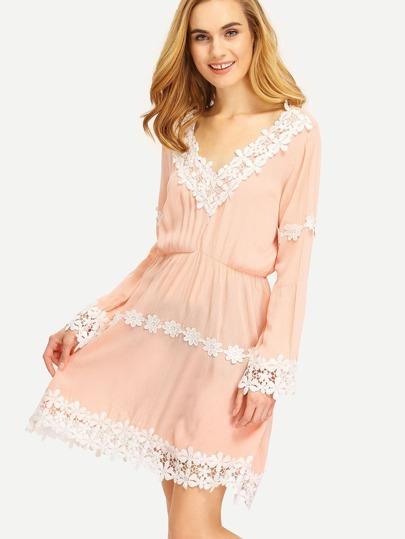 Pink Plunge Contrast Lace Hem Dress