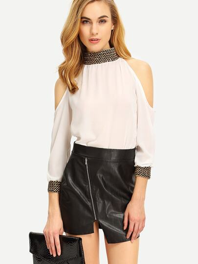 Open Shoulder Sequin Collar Chiffon Blouse