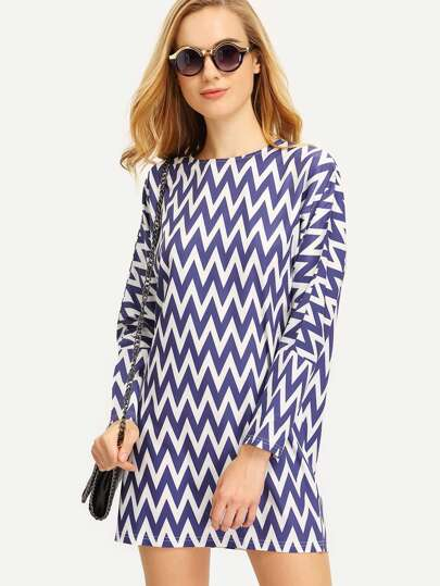 Navy White Zag Print Tunic Dress
