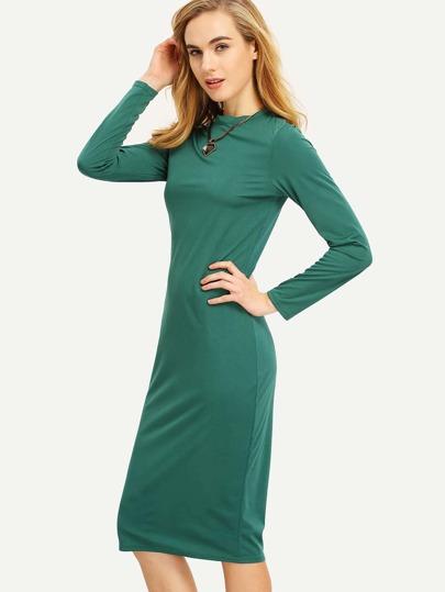 Green Long Sleeve Pencil Dress