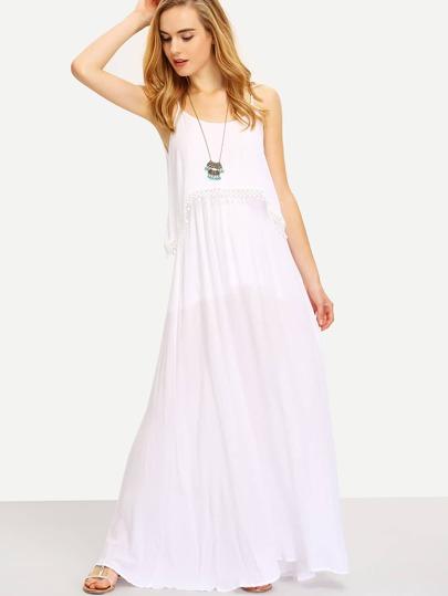 Beige Spaghetti Strap Lace-Trimed Flowy Dress
