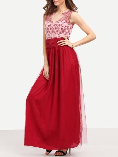 Red Sleeveless Backless Mesh Maxi Dress