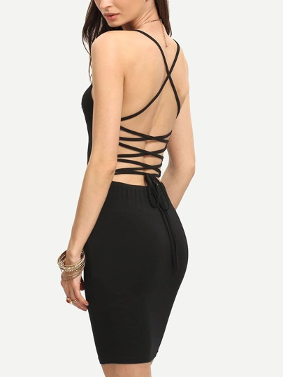 Black Spaghetti Strap Lace-up Back Bodycon Dress