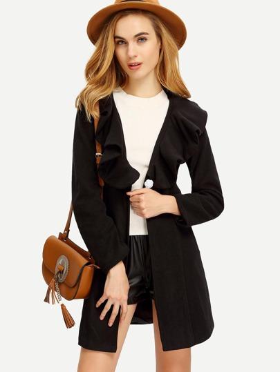 Black Lapel Single Button Ruffle Woolen Coat