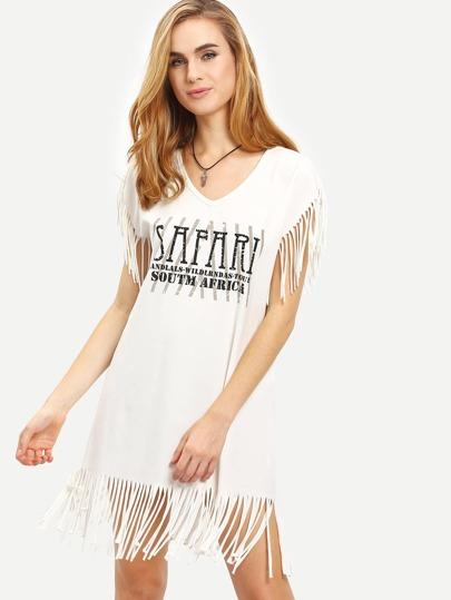 White V Neck Letters Print Tassel T-shirt Dress