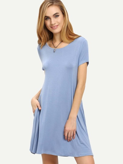Grey Blue Short Sleeve Pockets Shift Dress