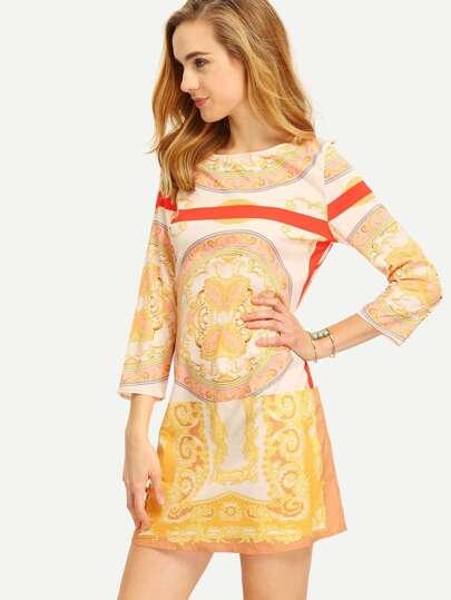 Apricot Tribal Print Shift Dress