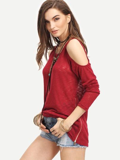 Burgundy Open Shoulder Zipper Side T-shirt