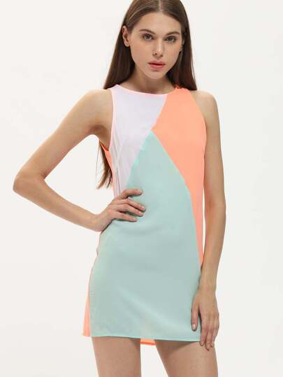 Orange Blue Sleeveless Auburn Color Block Dress