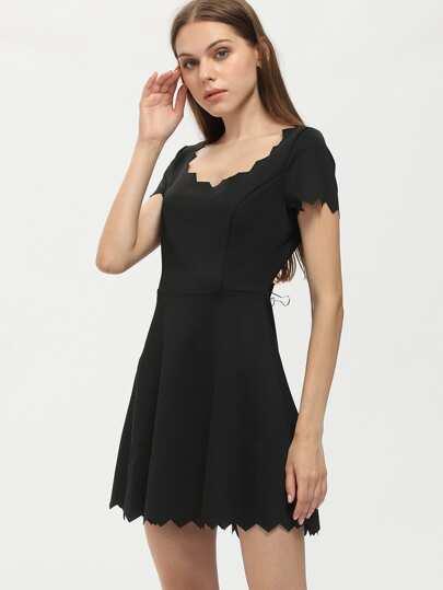 Black Sawtooth Trim Scoop Neck Dress