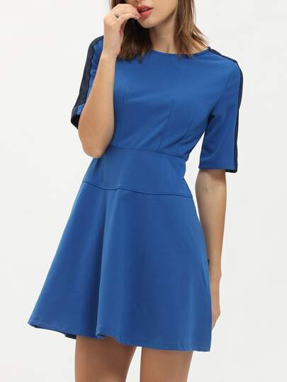 Blue Crew Neck A Line Dress
