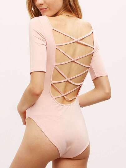 Pink Crew Neck Lace Up Back Slim Bodysuit