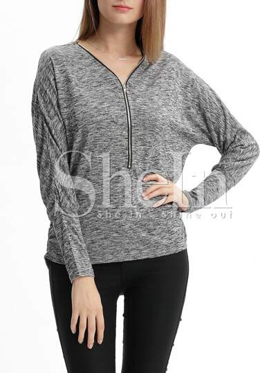 Grey Long Sleeve V Neck Zipper T-shirt
