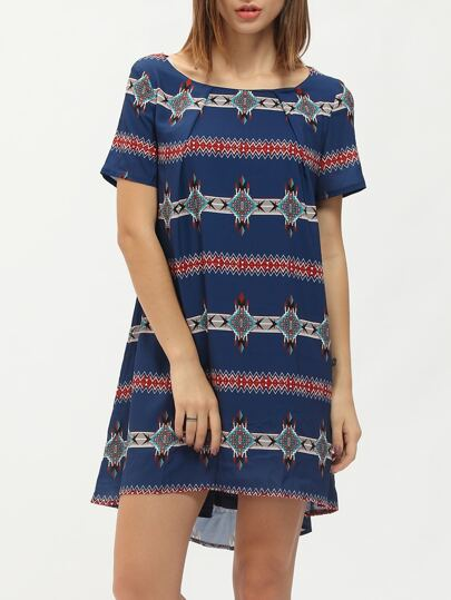 Blue Short Sleeve Vintage Print Dip Hem Dress