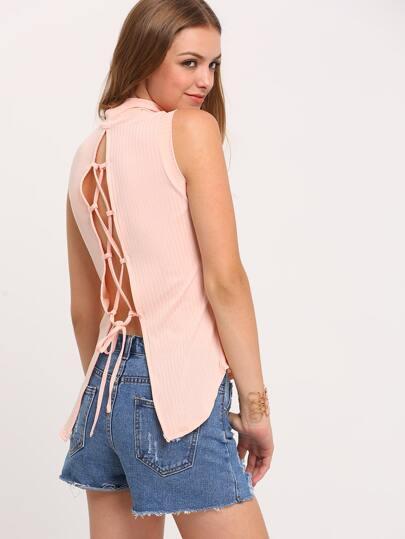 Pink Lace Up Back Mock Neck T-Shirt