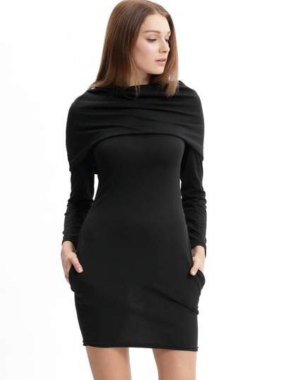 Black Cowl Neck Long Sleeve Slim Dress