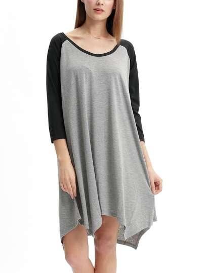 Grey Black Long Sleeve Color Block Asymmetric Dress