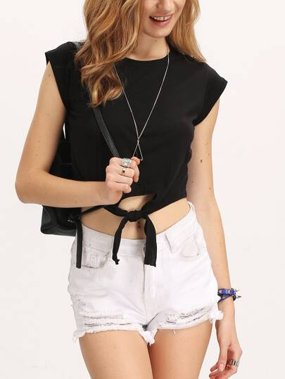 Black Round Neck Knotted Crop T-Shirt