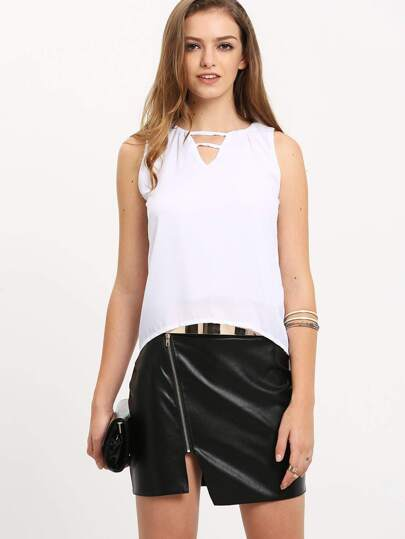 White V Neck Hollow Loose Tank Top