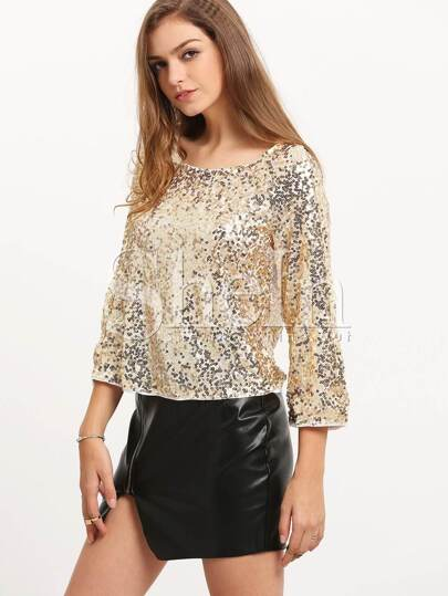 Gold Round Neck Sequined Blouse