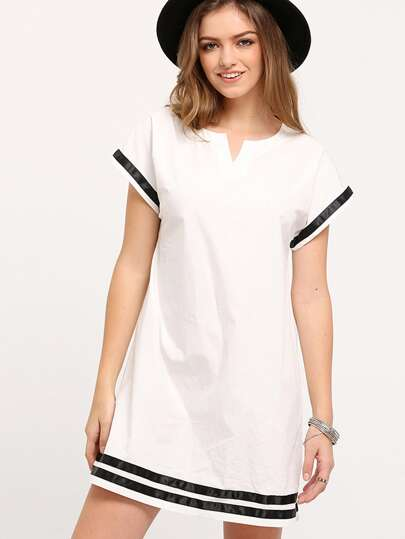 White Patchwork Black Shift Dress