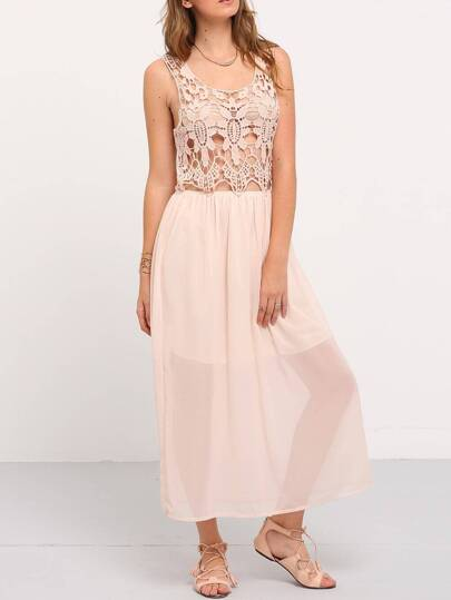 Apricot Lace Insert Hollow Out Dress