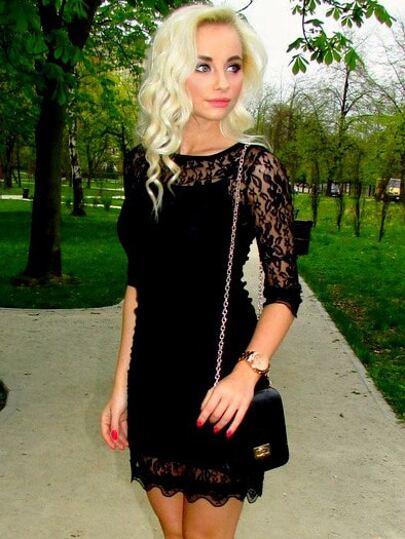 Black Round Neck Slim Bodycon Lace Dress