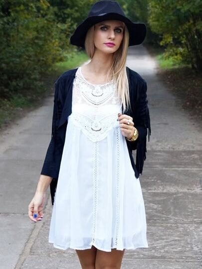 ärmelloses Kleid mit Netzspitze-weiß