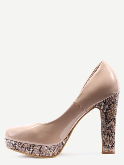 Cream-Colored Thick Heel Platform Pumps